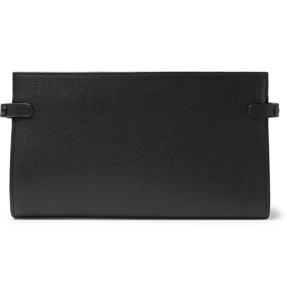 Photo: Valextra - Pebble-Grain Leather Travel Wallet - Men - Black