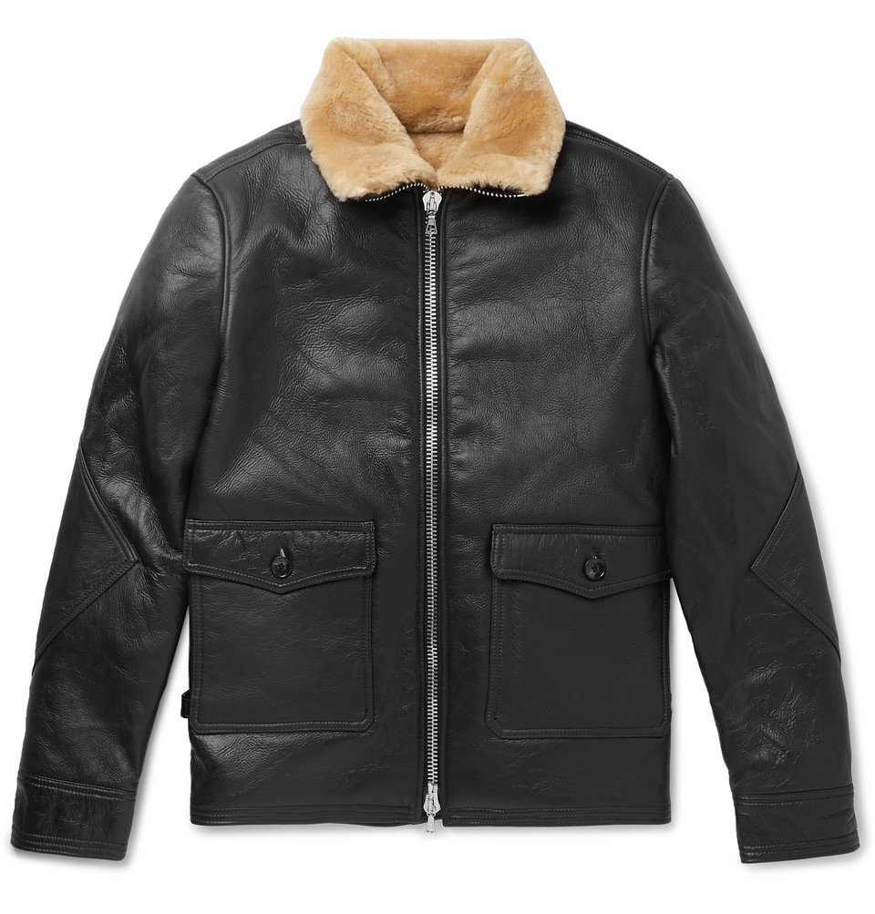Photo: Officine Generale - Clyde Shearling-Lined Leather Aviator Jacket - Black