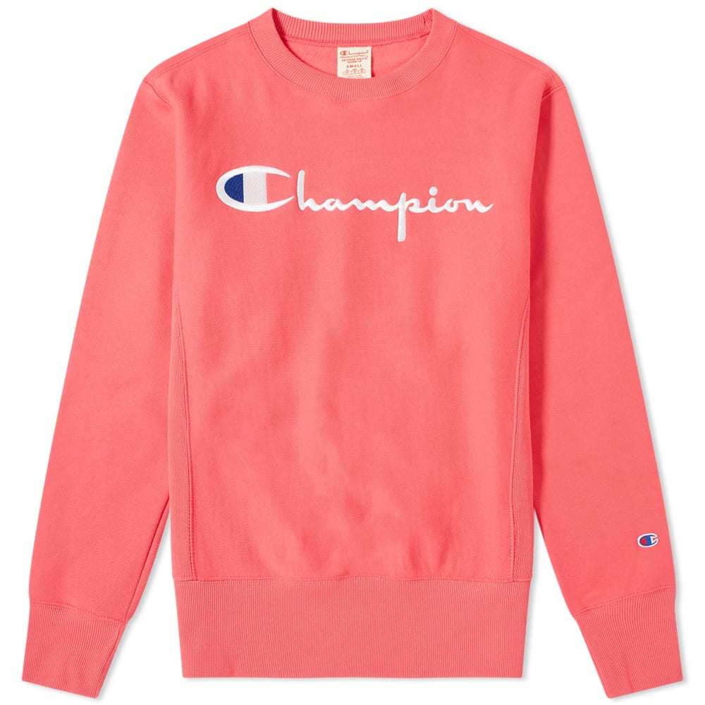 Photo: Champion Reverse Weave Script Logo Crew Sweat Fluo Pink