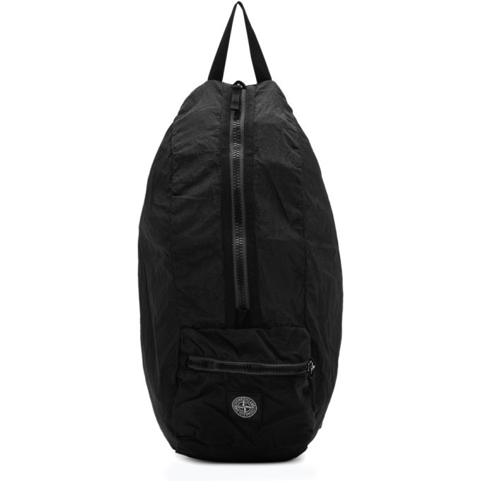 Photo: Stone Island Black Nylon Metal Watro Ripstop Packable Backpack