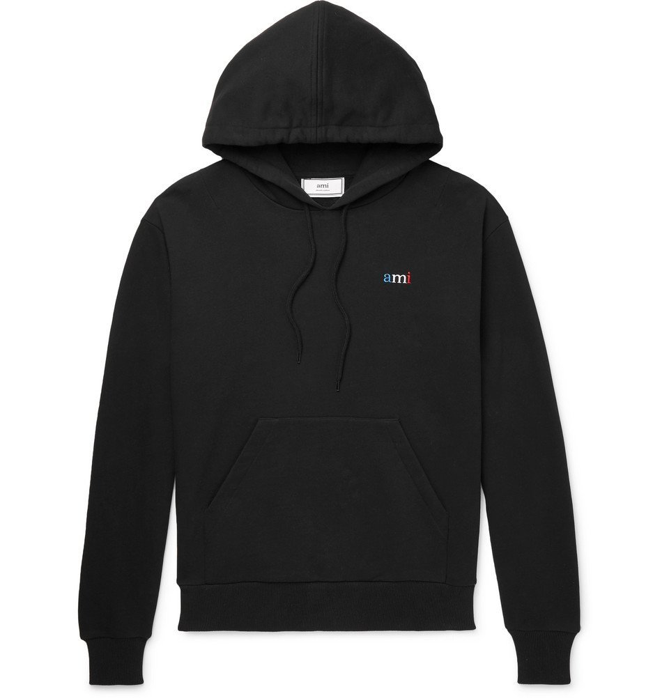 Photo: AMI - Embroidered Loopback Cotton-Jersey Hoodie - Black