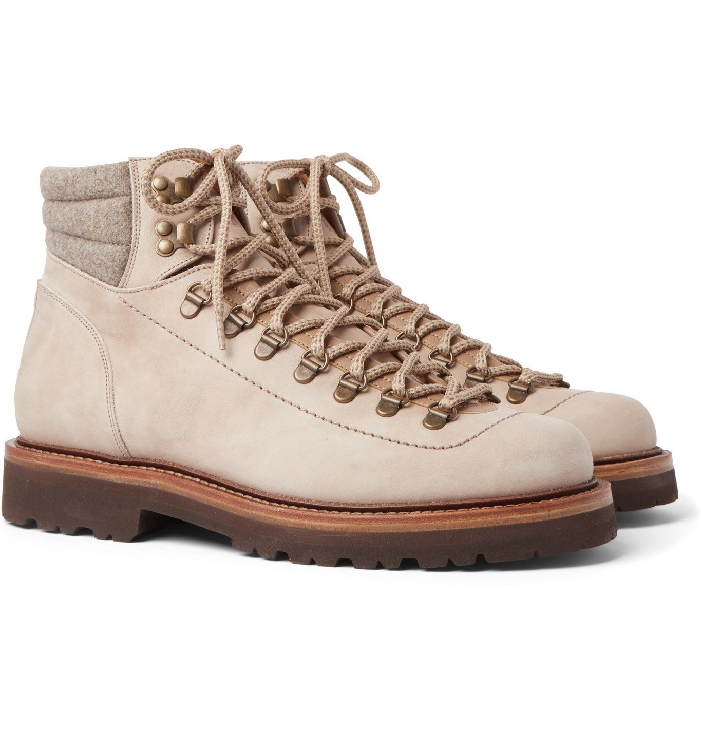 Photo: Brunello Cucinelli - Mélange Wool- and Leather-Trimmed Nubuck Boots - Neutrals