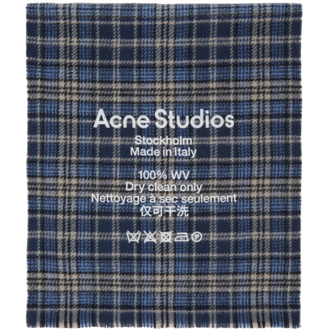 Photo: Acne Studios Blue and Beige Checked Logo Scarf