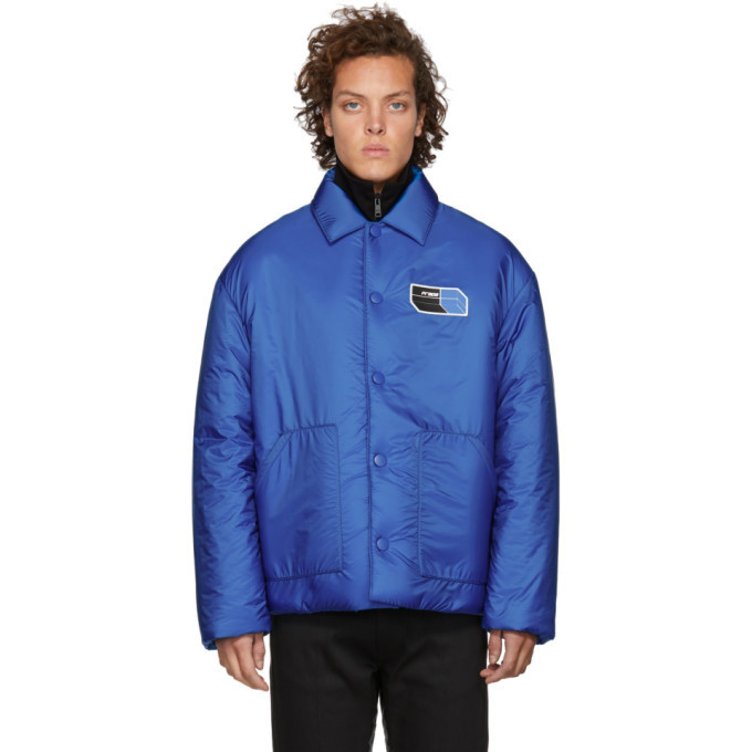 Photo: Prada Blue Nylon Logo Patch Jacket