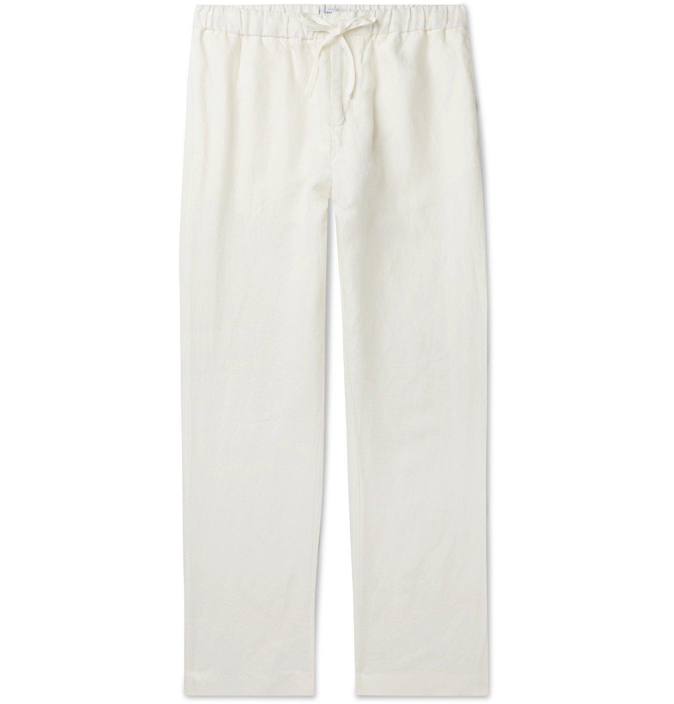 Photo: Frescobol Carioca - Slub Tencel and Linen-Blend Drawstring Trousers - White