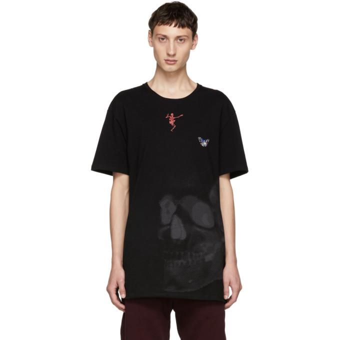 Photo: Alexander McQueen Black Skull Mix Media T-Shirt