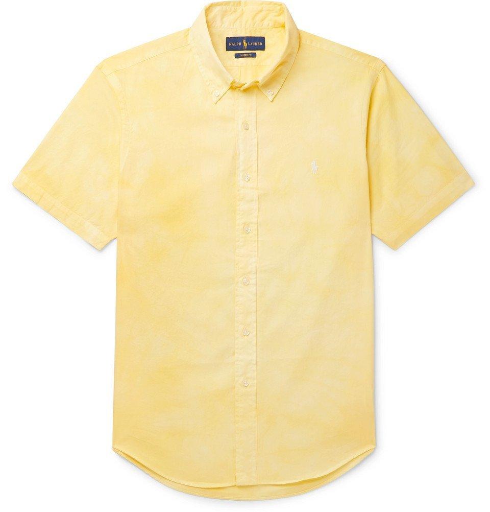 Photo: Polo Ralph Lauren - Slim-Fit Button-Down Collar Tie-Dyed Cotton-Poplin Shirt - Yellow