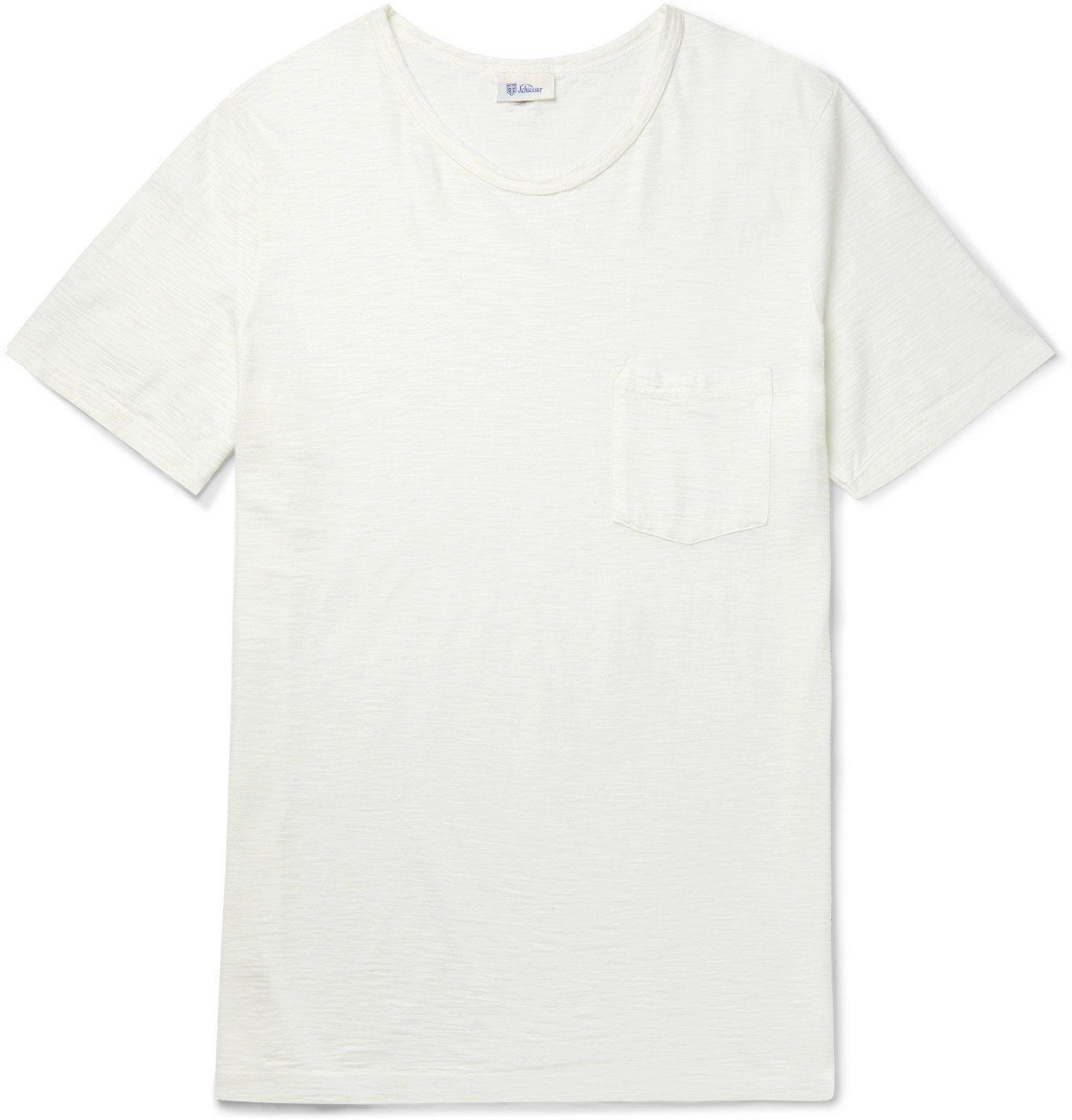 Schiesser - Hanno Slub Cotton-Jersey T-Shirt - White
