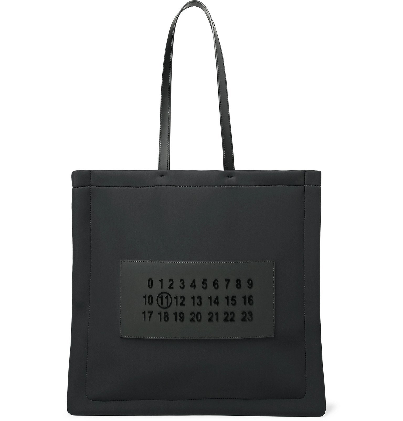 Photo: Maison Margiela - Leather-Trimmed Logo-Appliquéd Neoprene Tote Bag - Black