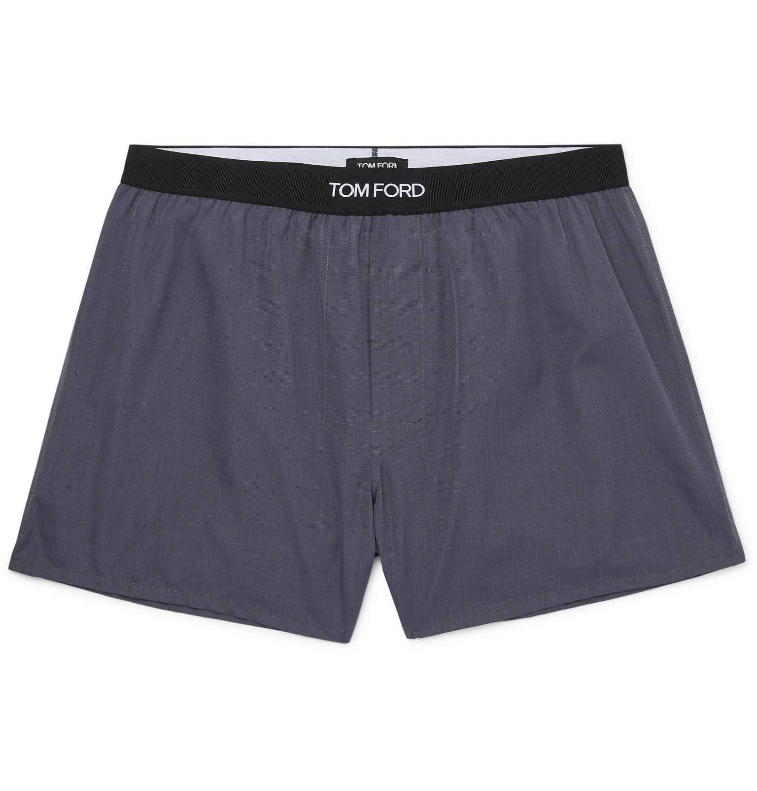 Photo: TOM FORD - Grosgrain-Trimmed Cotton Boxer Shorts - Gray