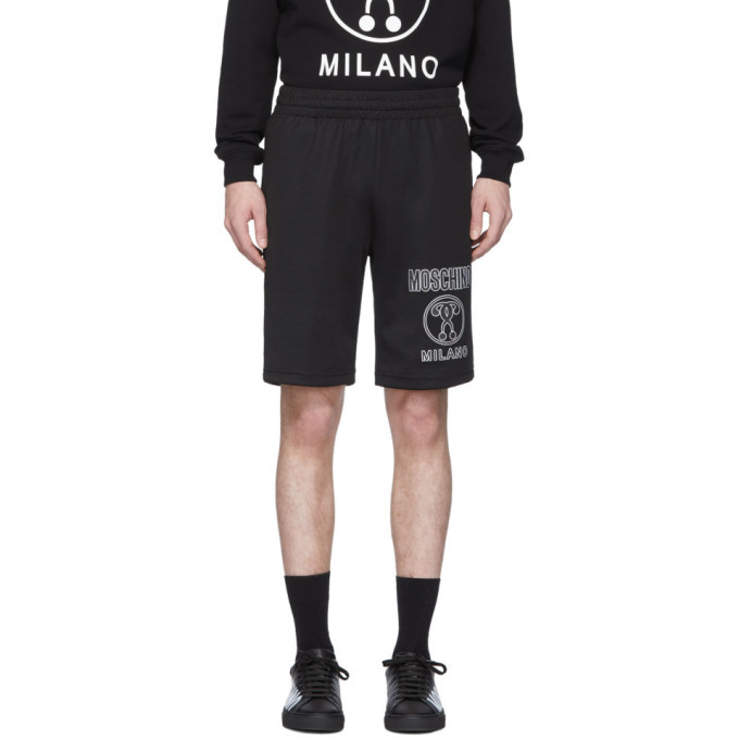 Photo: Moschino Black Double Question Mark Sweat Shorts