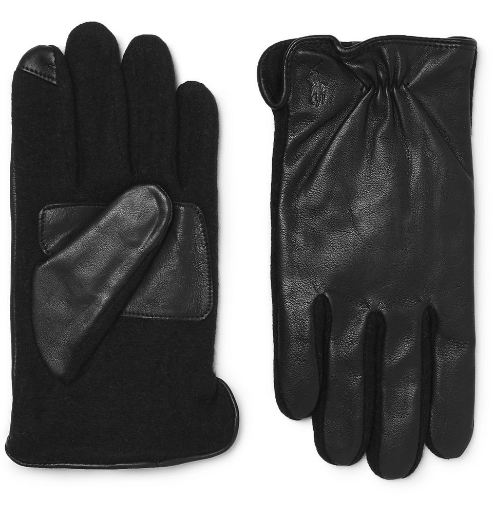 Photo: Polo Ralph Lauren - Touchscreen Leather and Flannel Gloves - Men - Black