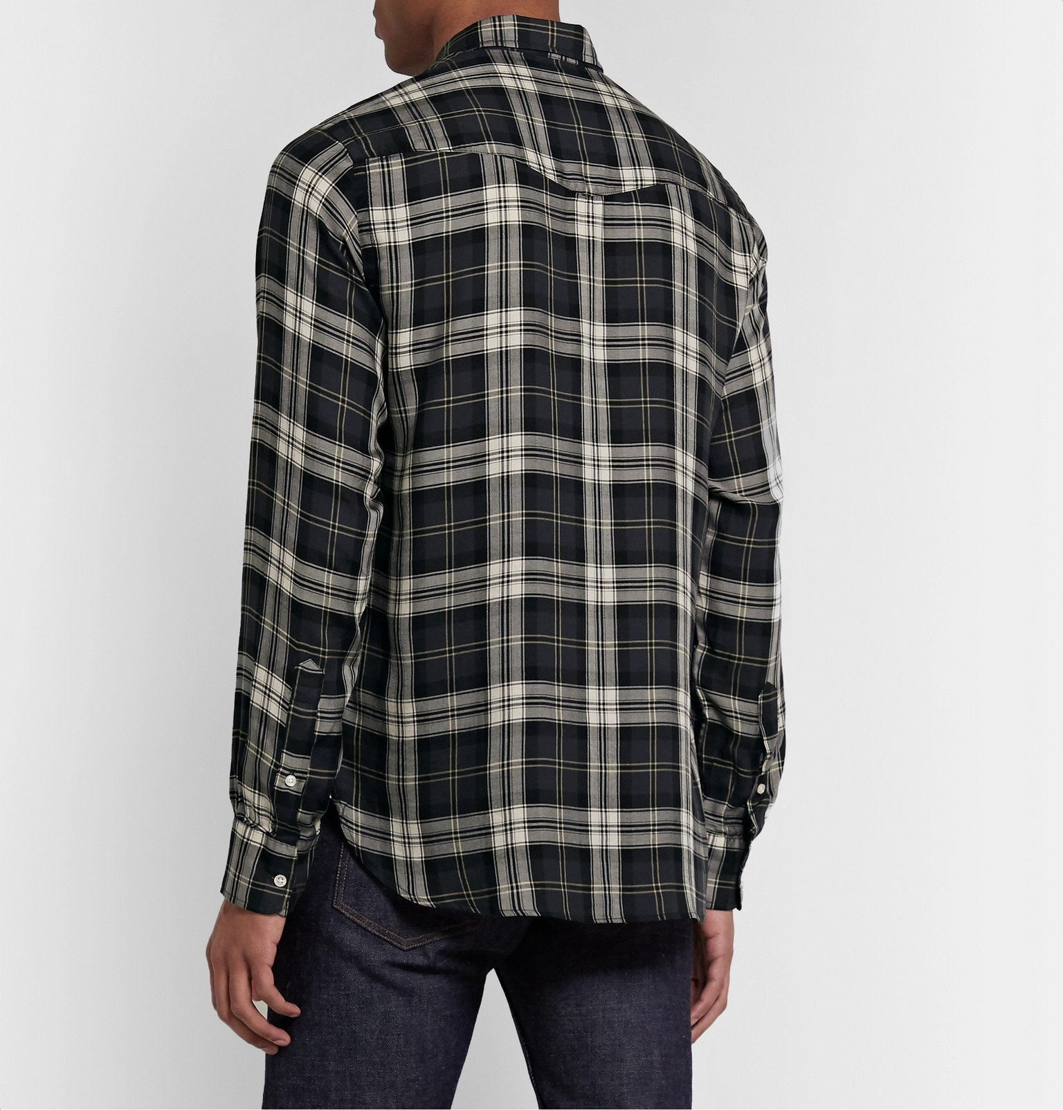 Officine Generale - Button-Down Collar Checked Lyocell Shirt - Gray