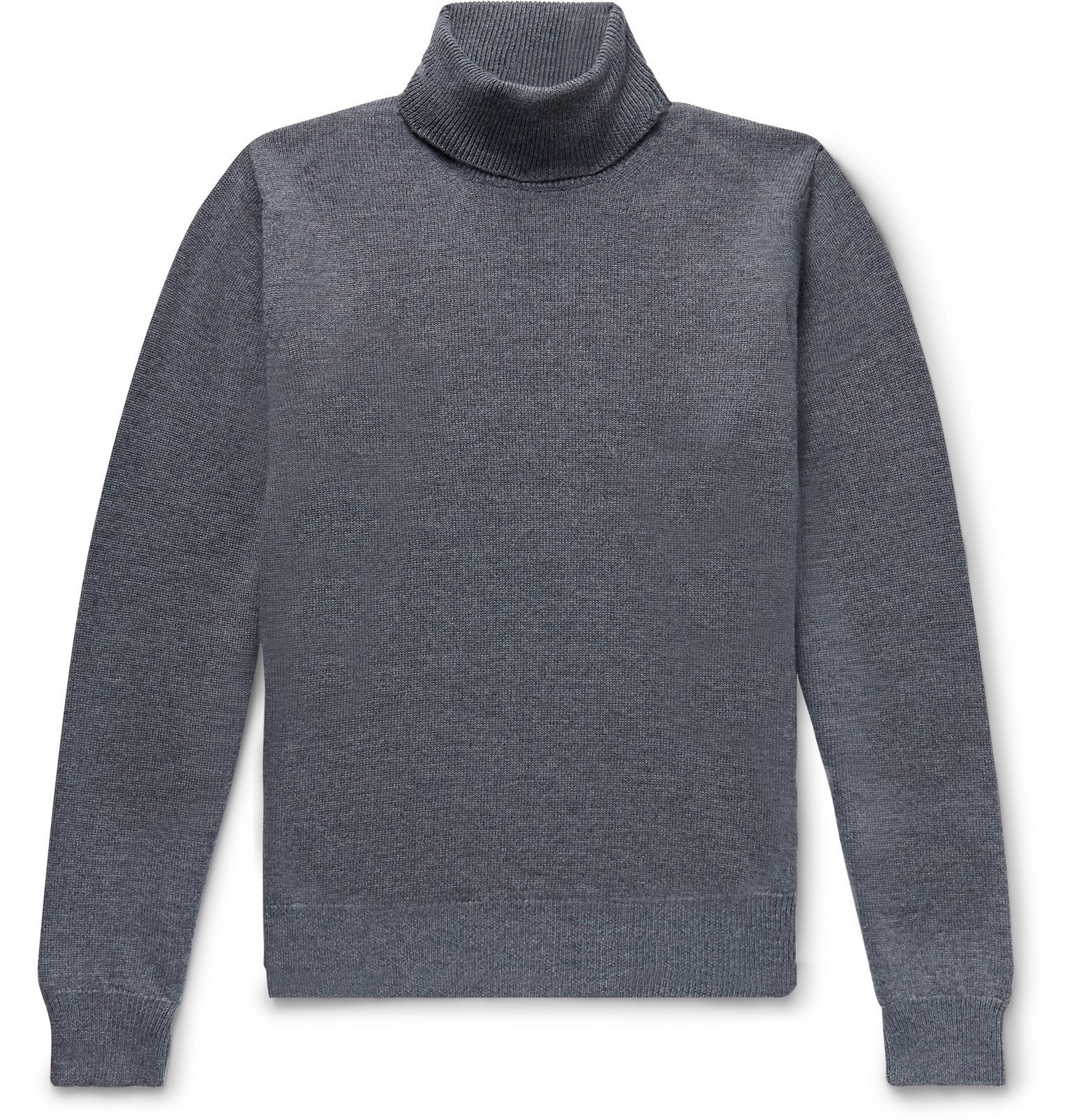 Photo: Saman Amel - Mélange Merino Wool Rollneck Sweater - Gray