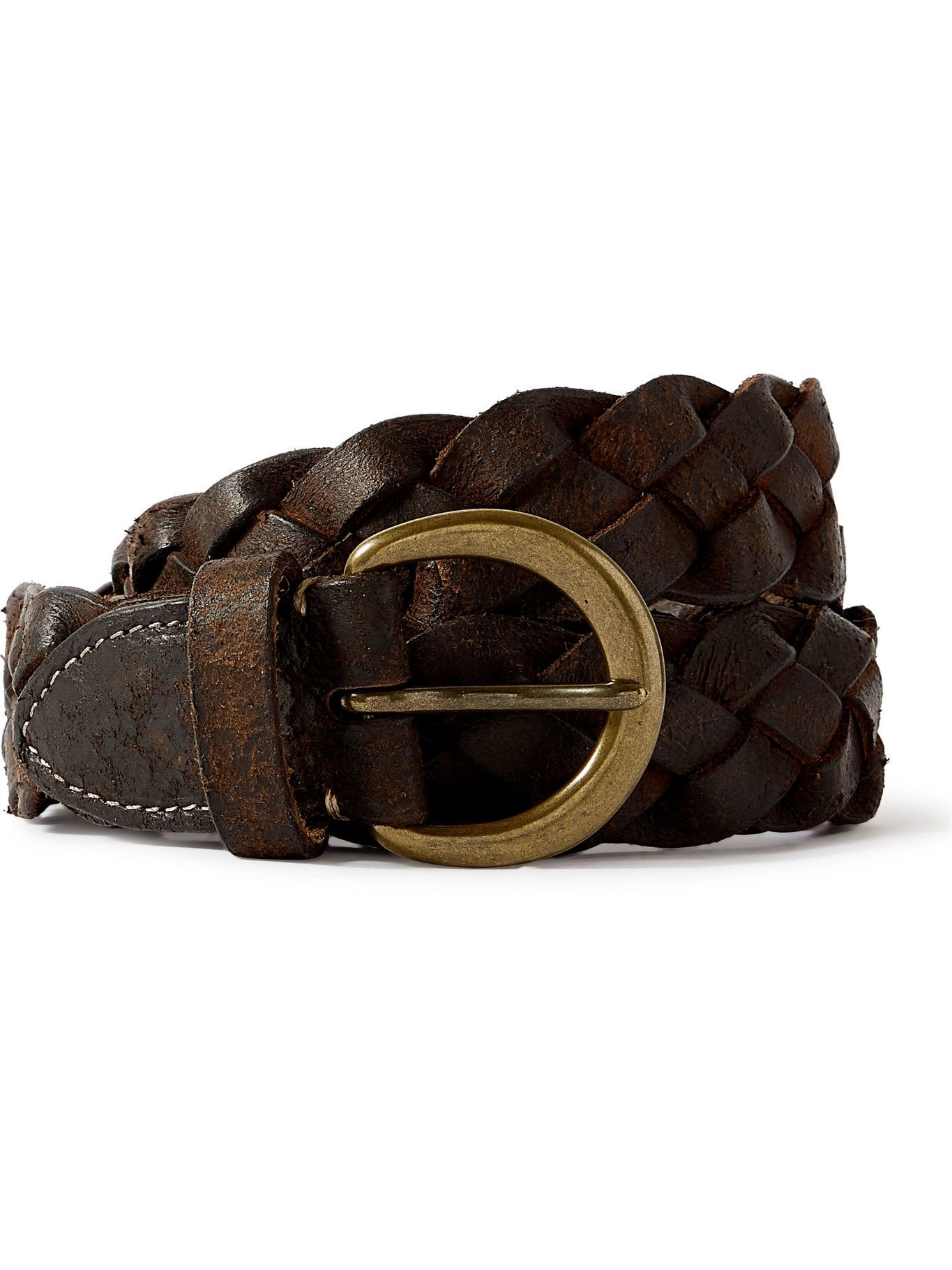 Photo: RRL - 3cm Distressed Woven Leather Belt - Brown