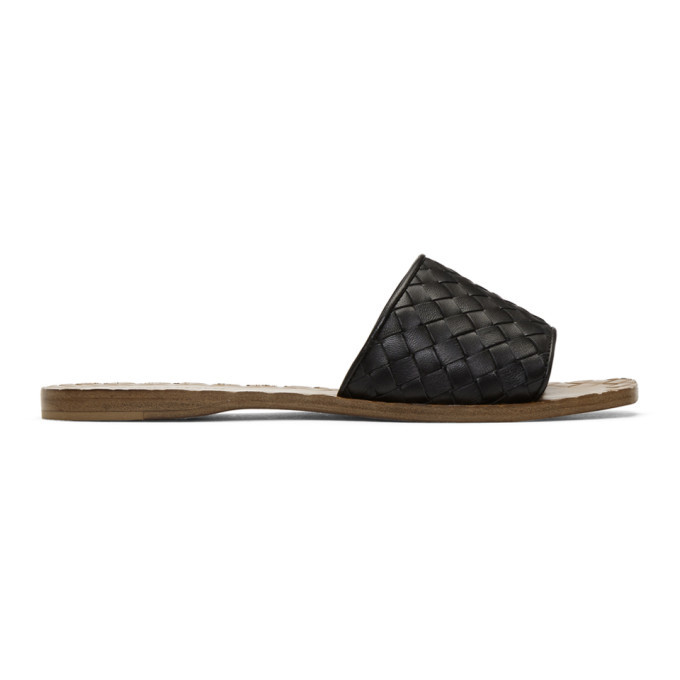 Photo: Bottega Veneta Black and Tan Intrecciato Slides