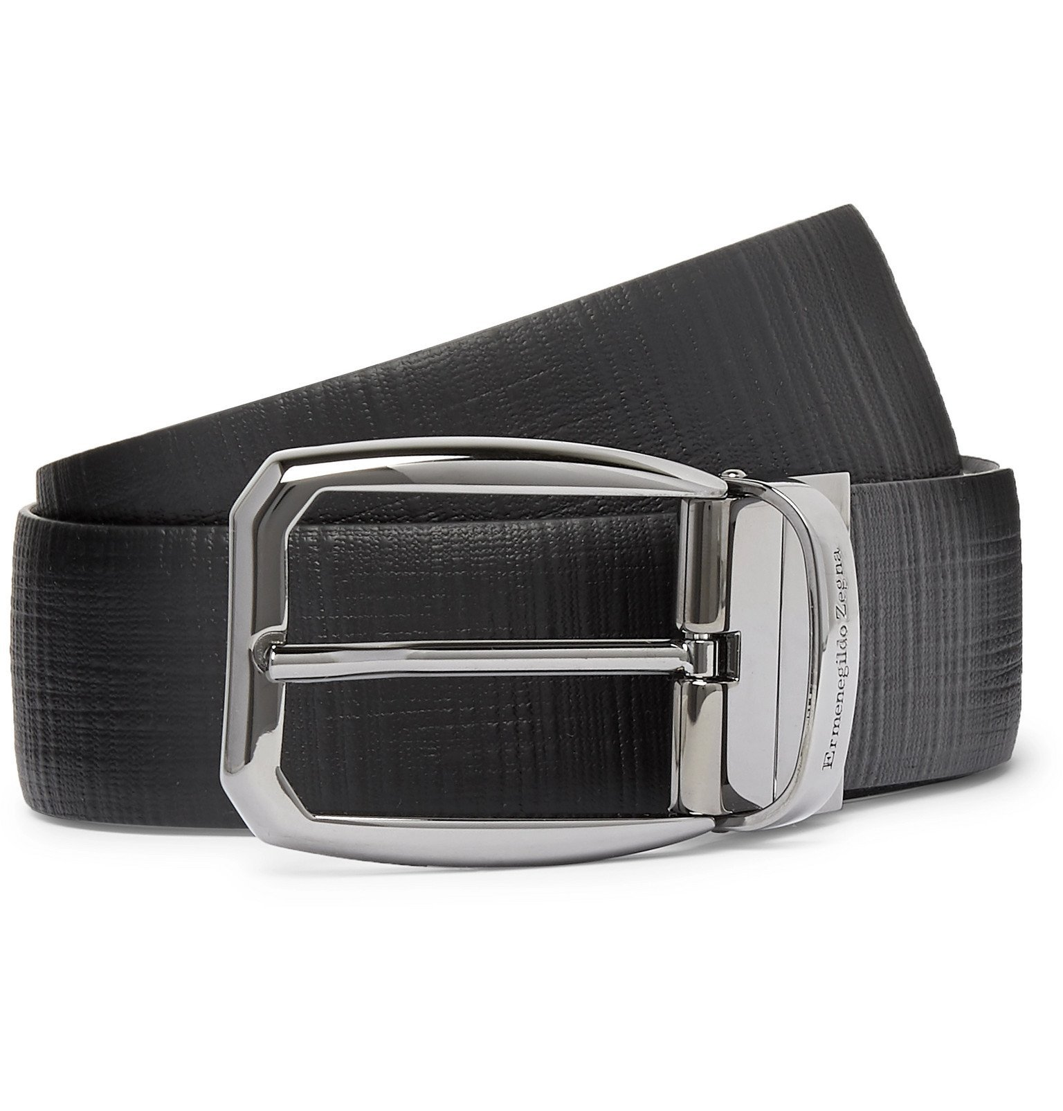 Photo: Ermenegildo Zegna - 3.5cm Black Reversible Cross-Grain Leather Belt - Black