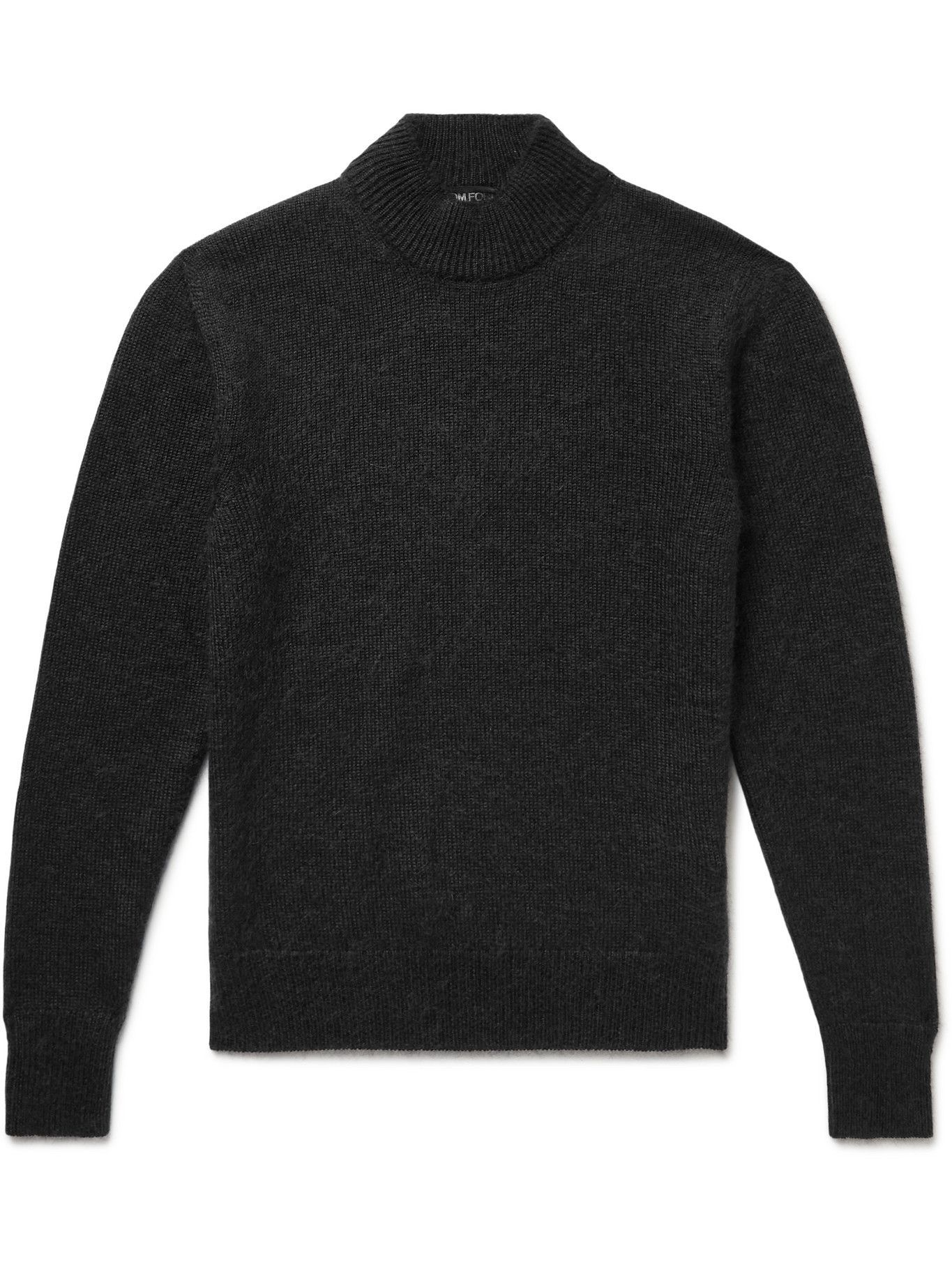 Photo: TOM FORD - Slim-Fit Brushed Cashmere, Mohair and Silk-Blend Mock-Neck Sweater - Black
