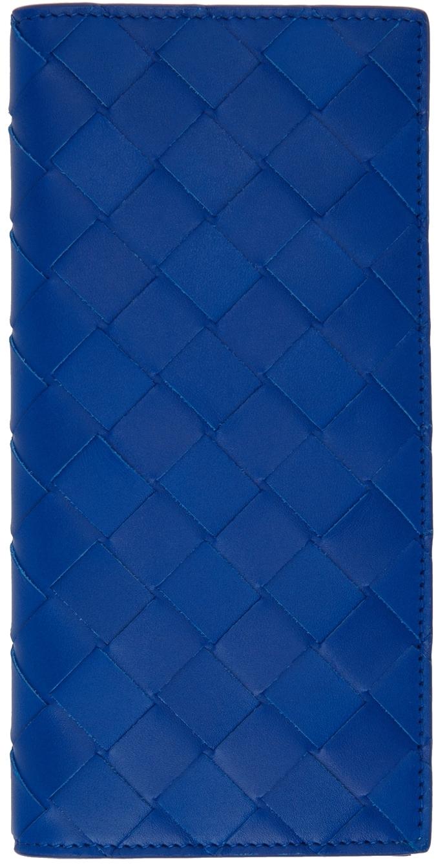 Photo: Bottega Veneta Blue Intrecciato Slim Long Wallet