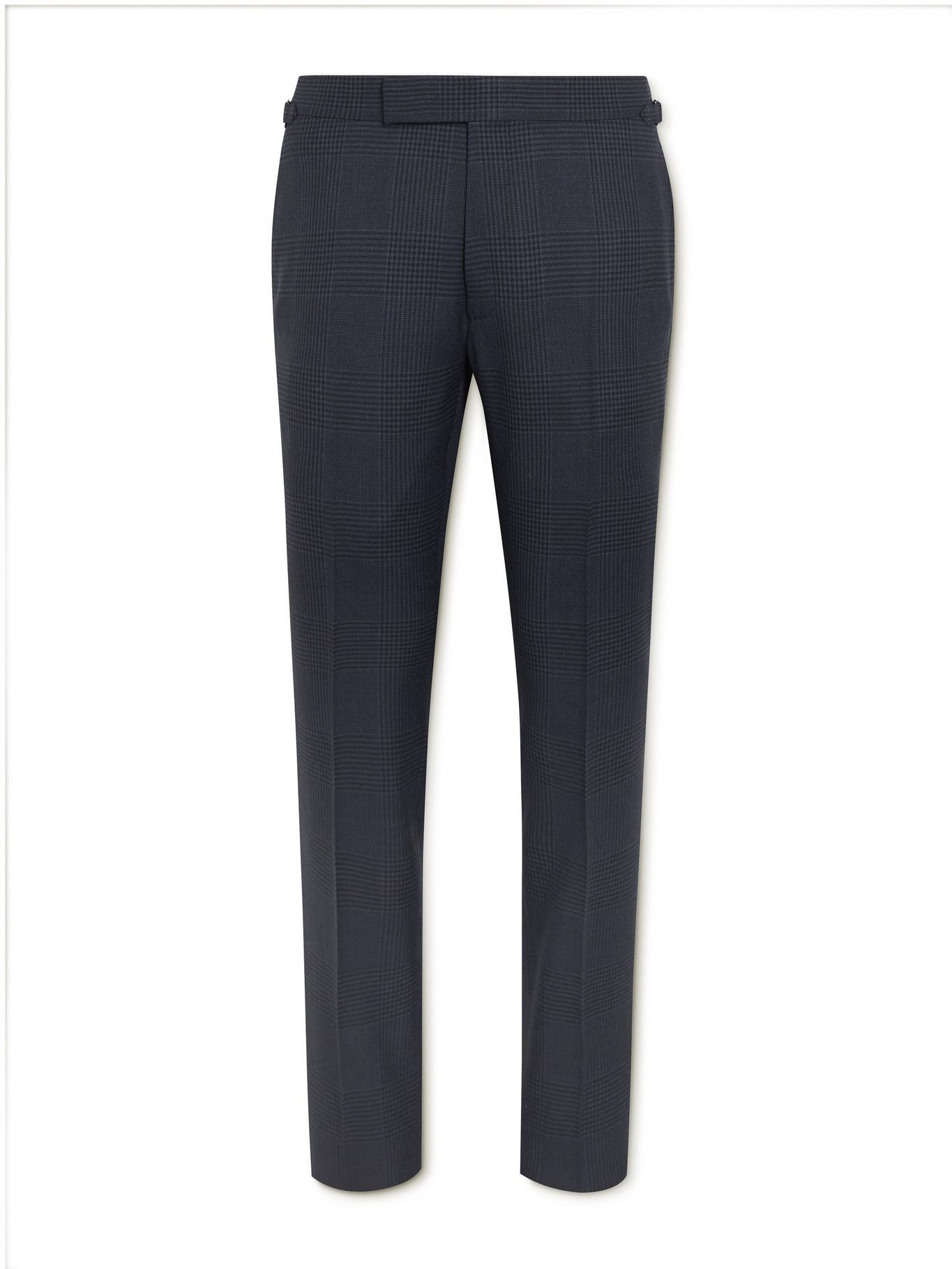 Photo: TOM FORD - Shelton Slim-Fit Prince of Wales Checked Wool and Silk-Blend Suit Trousers - Blue