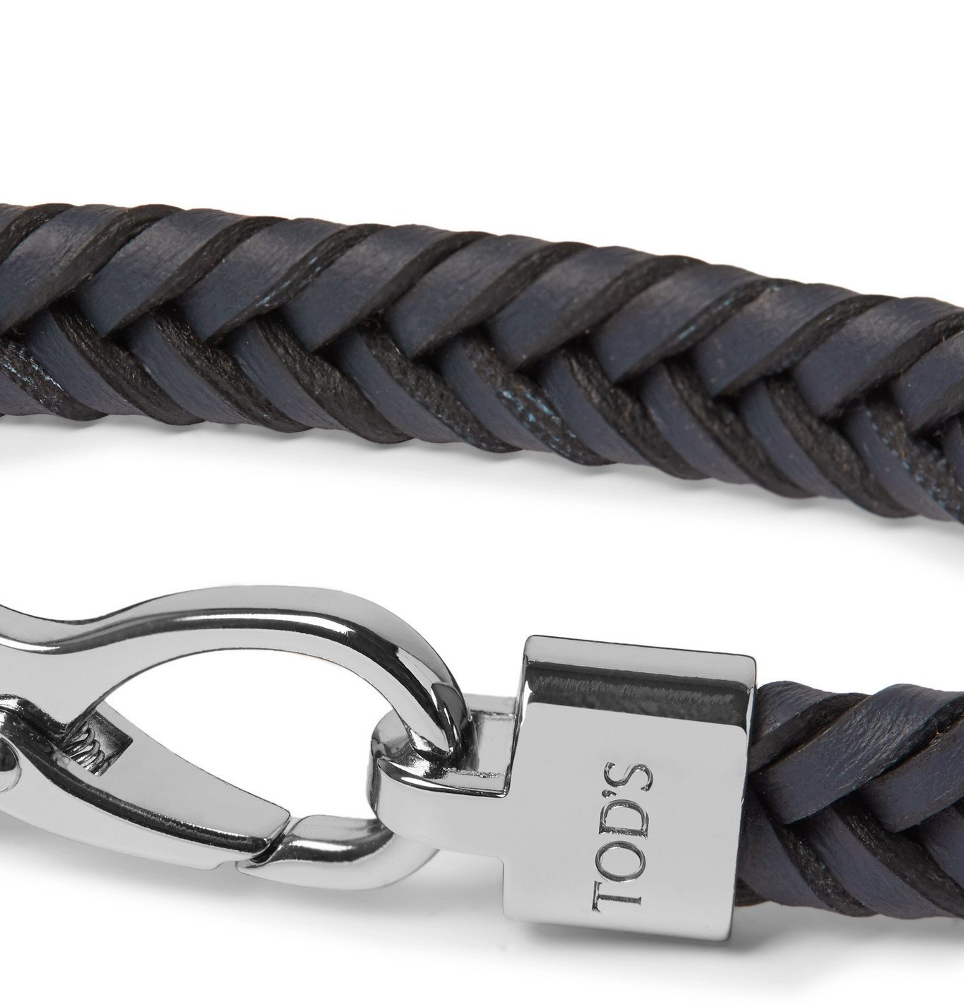 Tod's - Woven Leather and Silver-Tone Bracelet - Blue