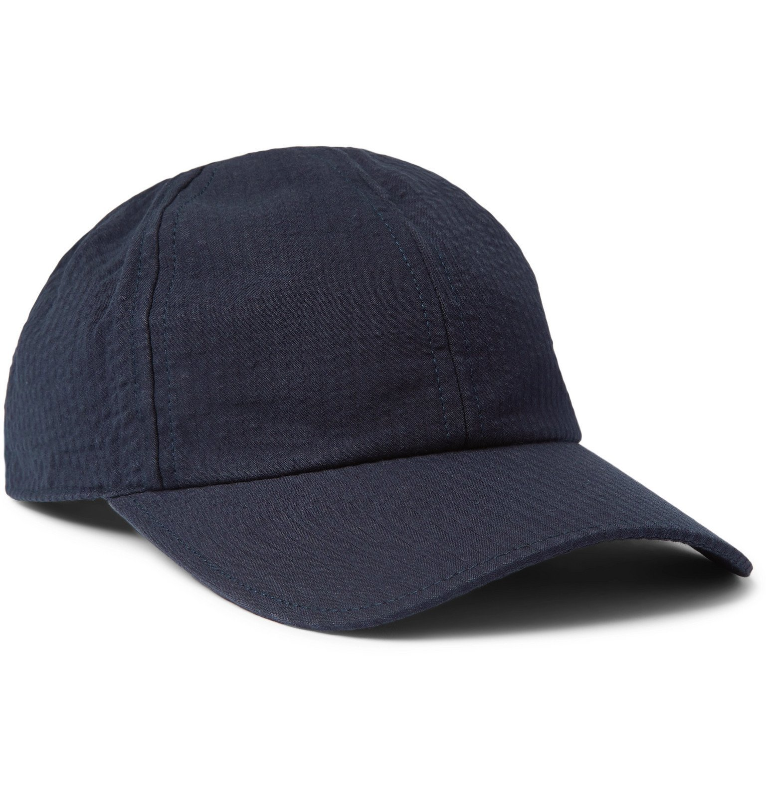 Photo: Officine Generale - Cotton-Seersucker Baseball Cap - Blue