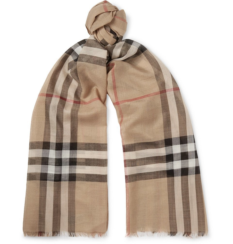 Photo: Burberry - Fringed Checked Wool and Silk-Blend Scarf - Men - Tan