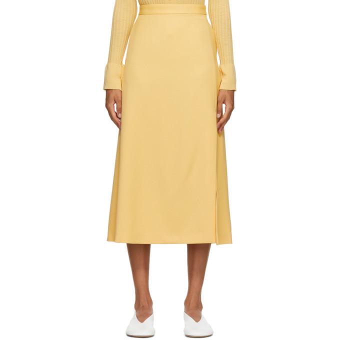 Photo: AURALEE Yellow Wool Max Serge Skirt