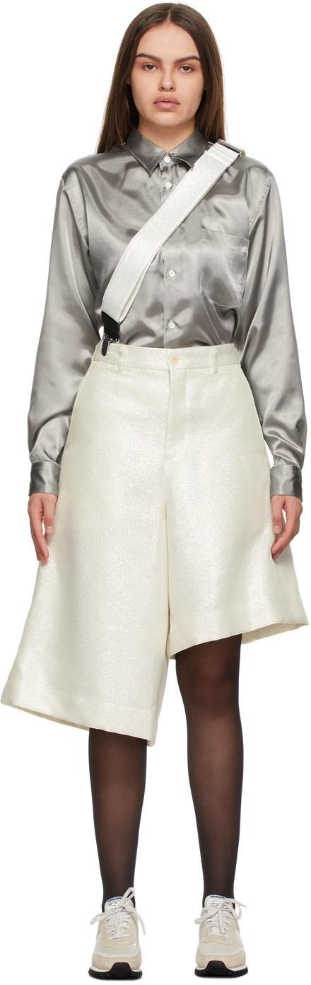 Photo: Comme des Garçons Homme Plus Silver Lamé Suspender Shorts