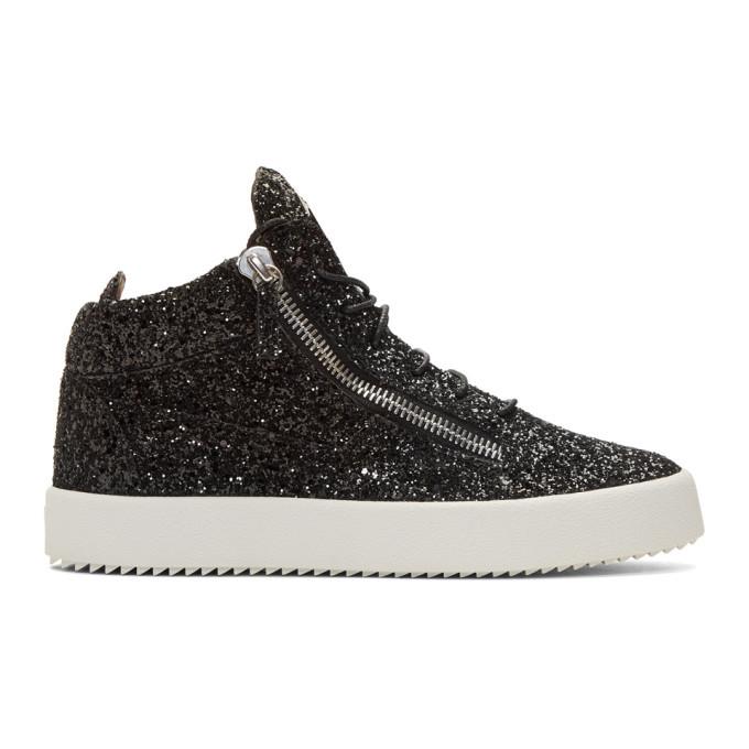 Photo: Giuseppe Zanotti Black Glitter May London High-Top Sneakers
