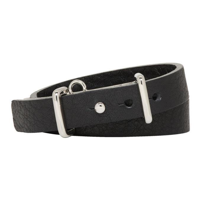 Photo: Ambush Black and Silver Leather Buckle Bracelet