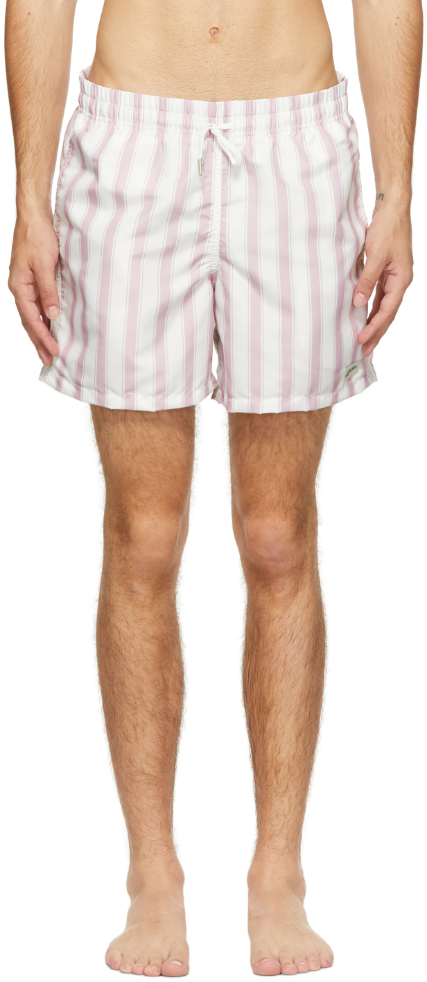 Photo: Bather Pink & White Stripe Swim Shorts
