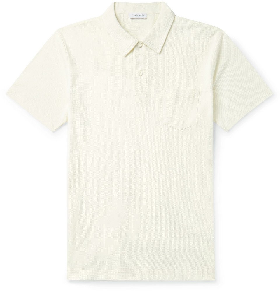 Photo: Sunspel - Riviera Slim-Fit Cotton-Mesh Polo Shirt - Off-white