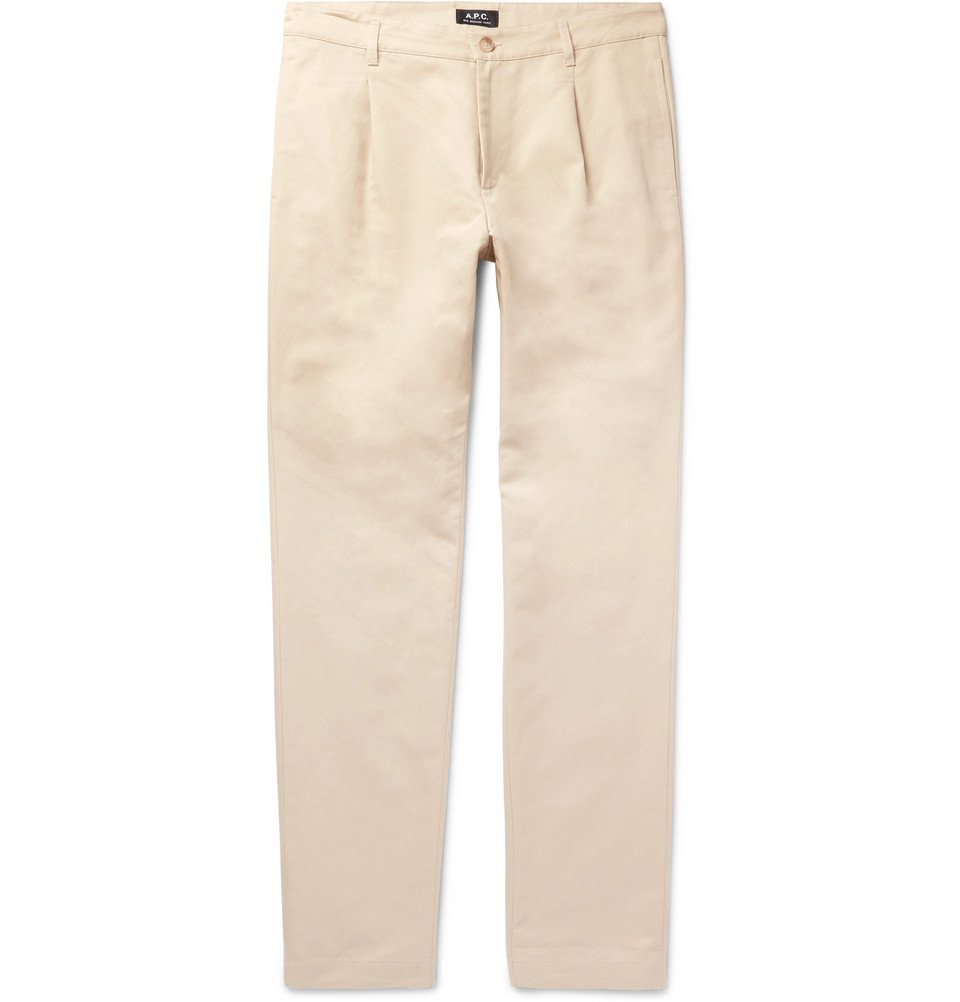Photo: A.P.C. - Florian Slim-Fit Cotton and Linen-Blend Gabardine Chinos - Cream