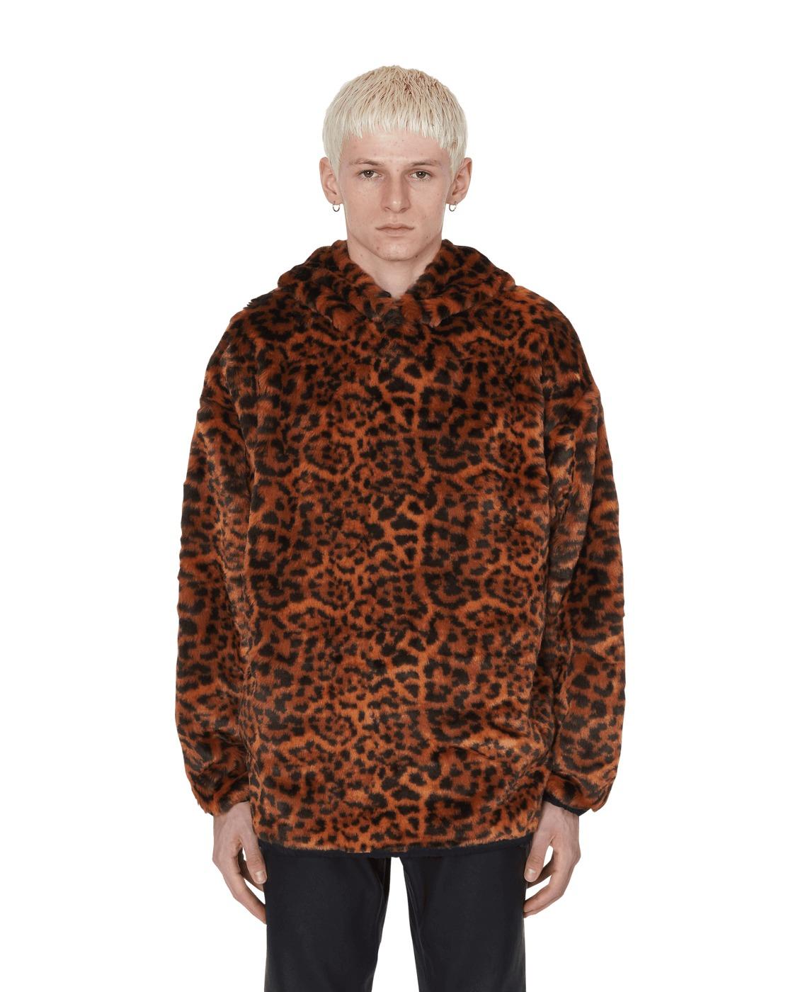 Aries Leopard Faux Fur Hooded Sweatshirt Leopard