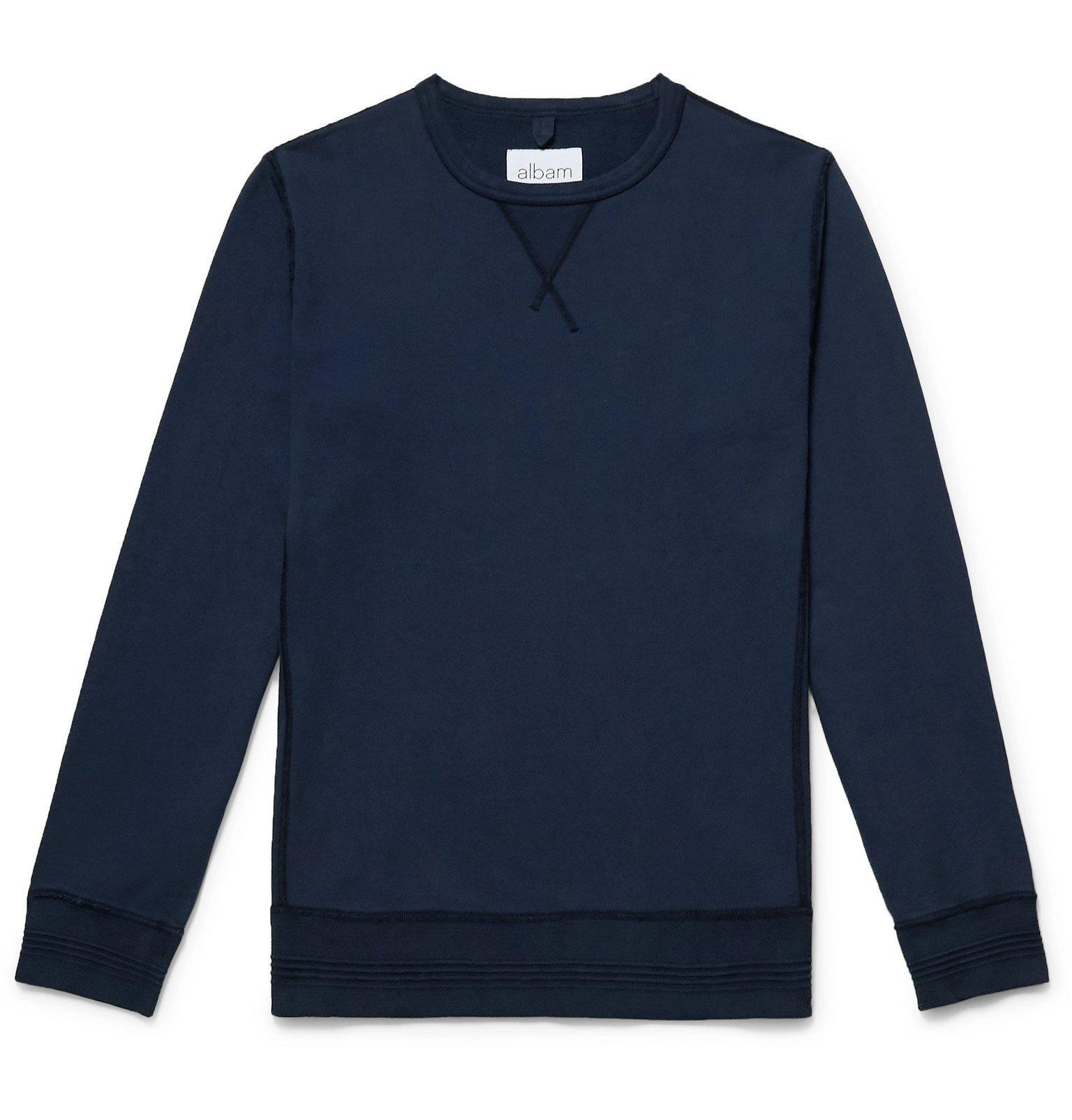Photo: Albam - Fleece-Back Cotton-Jersey Sweatshirt - Blue