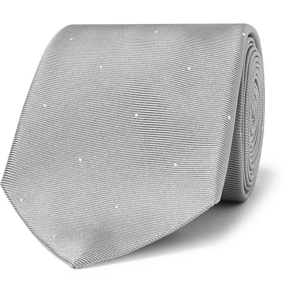 Dunhill - 8cm Polka-Dot Silk-Faille Tie - Men - Gray