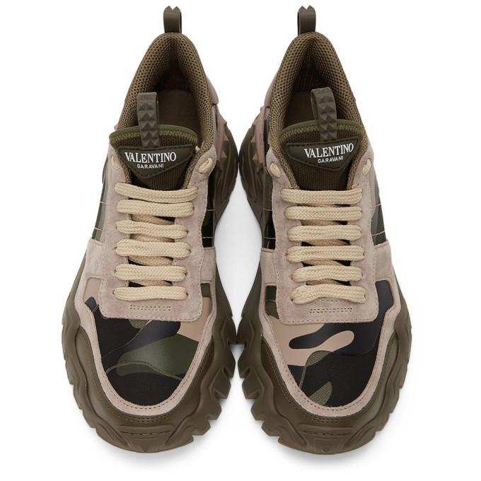 Valentino Khaki and Pink Valentino Garavani Camo Rockrunner Sneakers