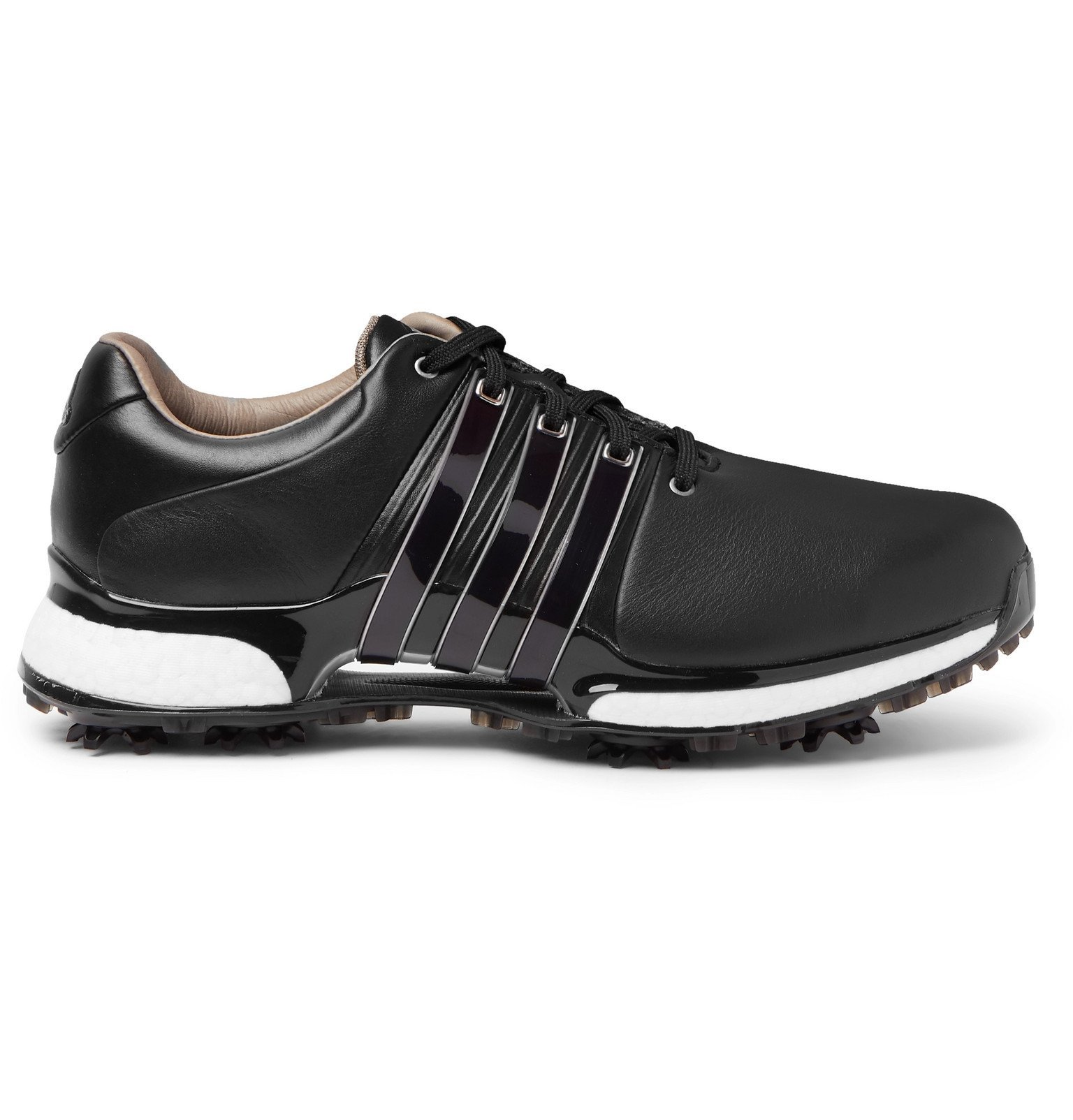 Photo: Adidas Golf - TOUR360 XT PVC and Rubber-Trimmed Leather Golf Sneakers - Black