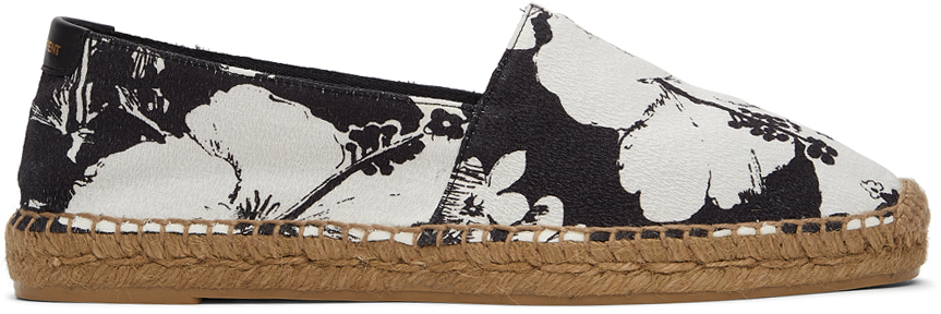 Photo: Saint Laurent White & Black Hibiscus Print Espadrilles