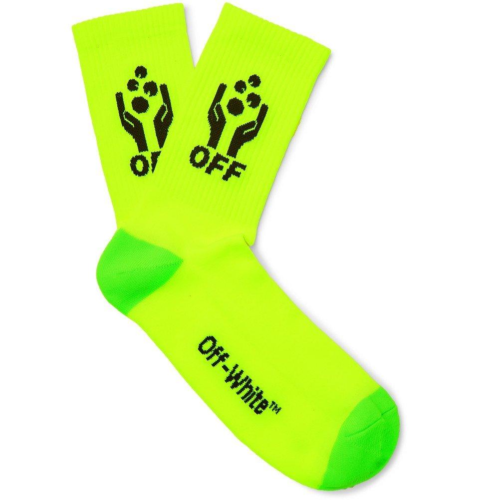 Photo: Off-White - Logo-Intarsia Stretch-Knit Socks - Yellow