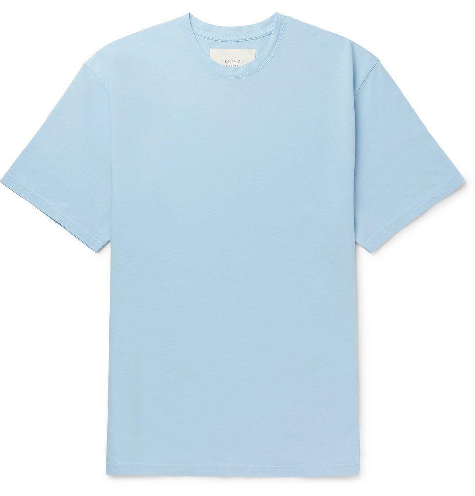 Photo: Studio Nicholson - Letra Mercerised Cotton-Jersey T-Shirt - Blue
