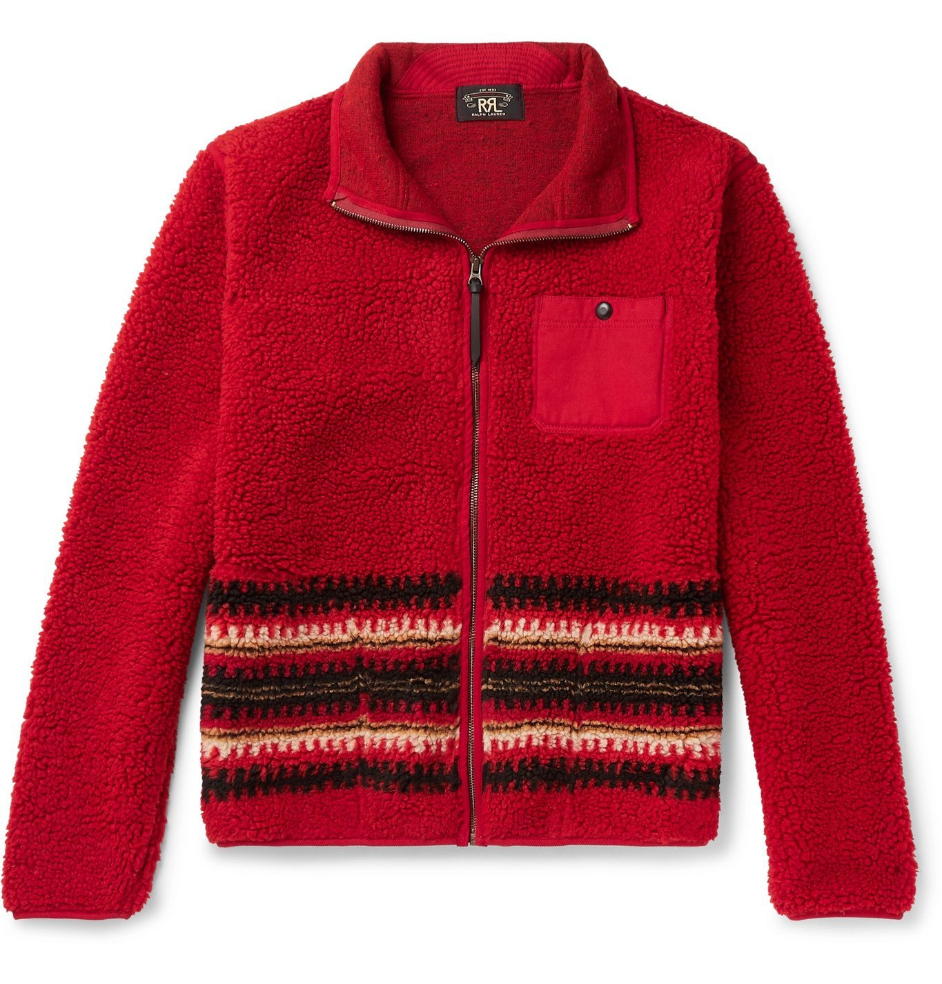 RRL - Canvas-Trimmed Intarsia Fleece Jacket - Red
