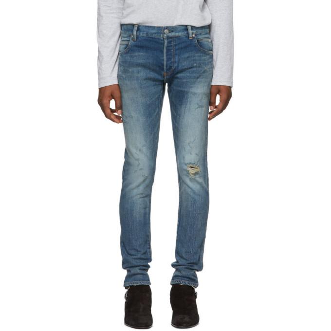 Photo: Balmain Blue Destroy Vintage Slim Jeans