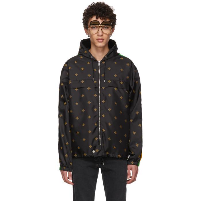 gucci black nylon bee hooded jacket gucci