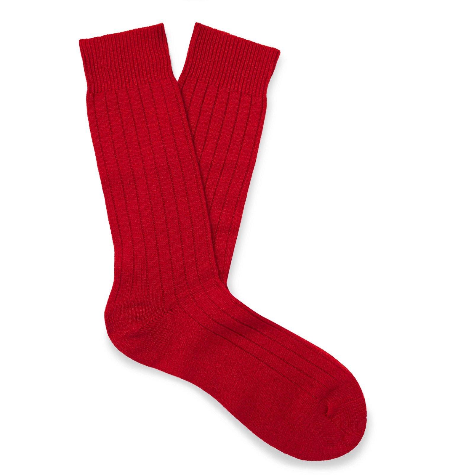 Photo: Pantherella - Waddington Cashmere-Blend Socks - Red