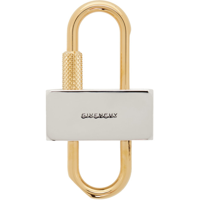 Photo: Givenchy Silver and Gold Small 4G Padlock Keychain