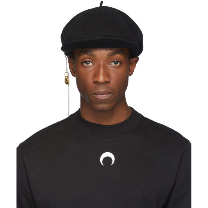 Photo: Marine Serre Black Wool Earring Beret