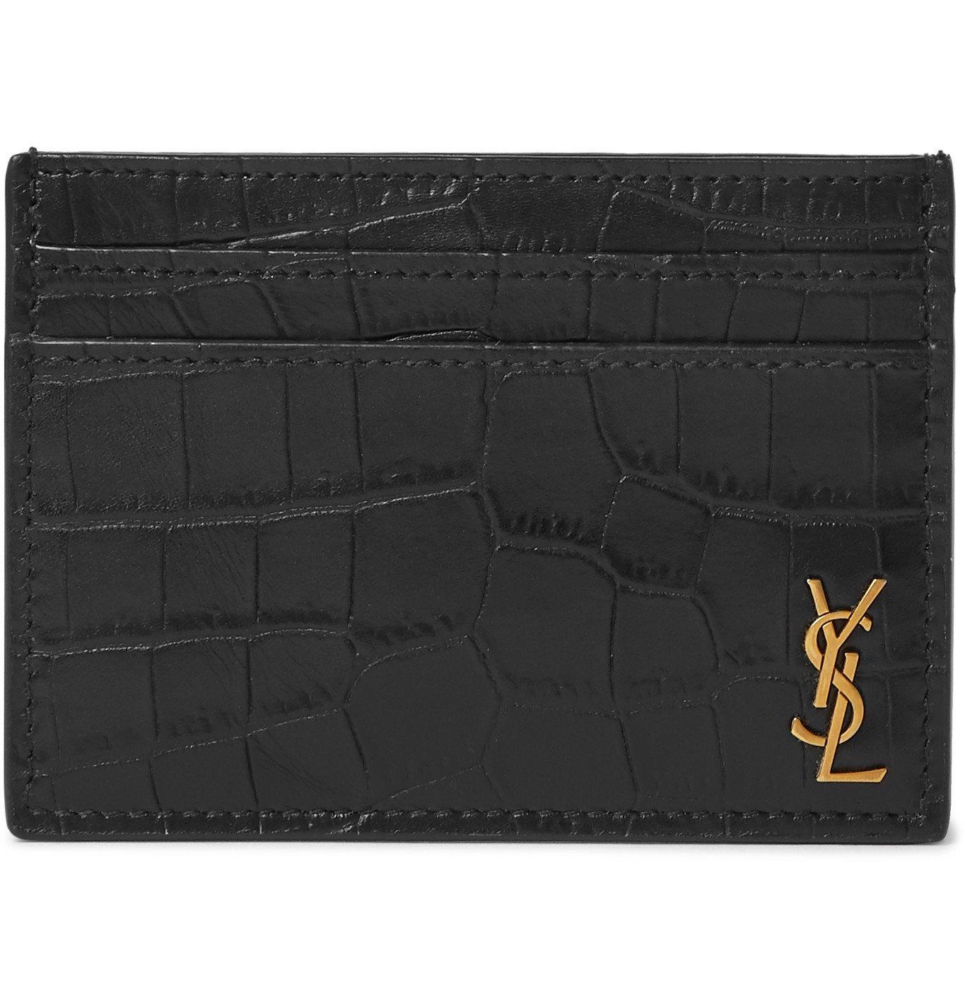 Photo: SAINT LAURENT - Logo-Appliquéd Croc-Effect Leather Cardholder - Black