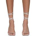 Amina Muaddi White Vita Crystal Heeled Sandals